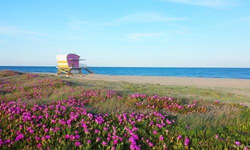 La plage d'Aphrodite Village et son poste de secours - © Locations-Leucate.com